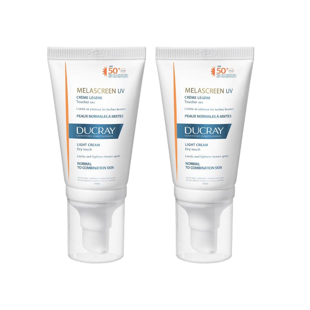 Ducray PROMO Melascreen UV Light Cream SPF50+ Λεπτόρρευστη Αντηλιακή Κρέμα Προσώπου για Κανονικό Δέρμα με Δυσχρωμίες, 2 x 40ml