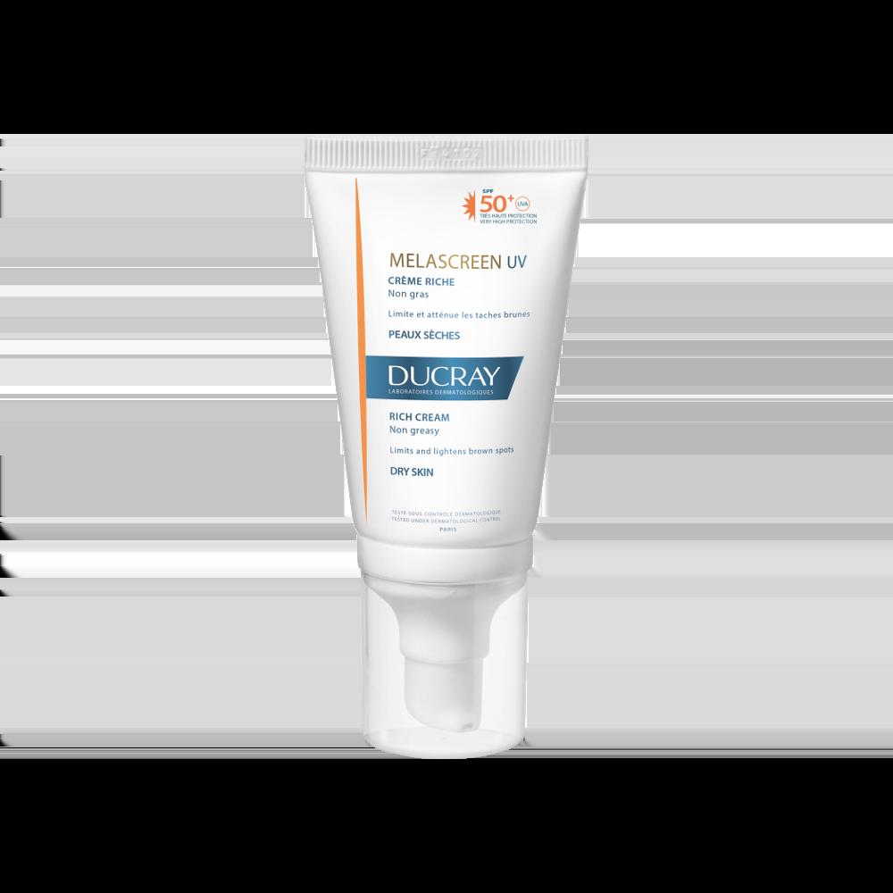 Ducray Melascreen UV Rich Cream SPF50+ Λεπτόρρευστη Αντηλιακή Κρέμα Προσώπου για Ξηρό Δέρμα με Δυσχρωμίες, 40ml