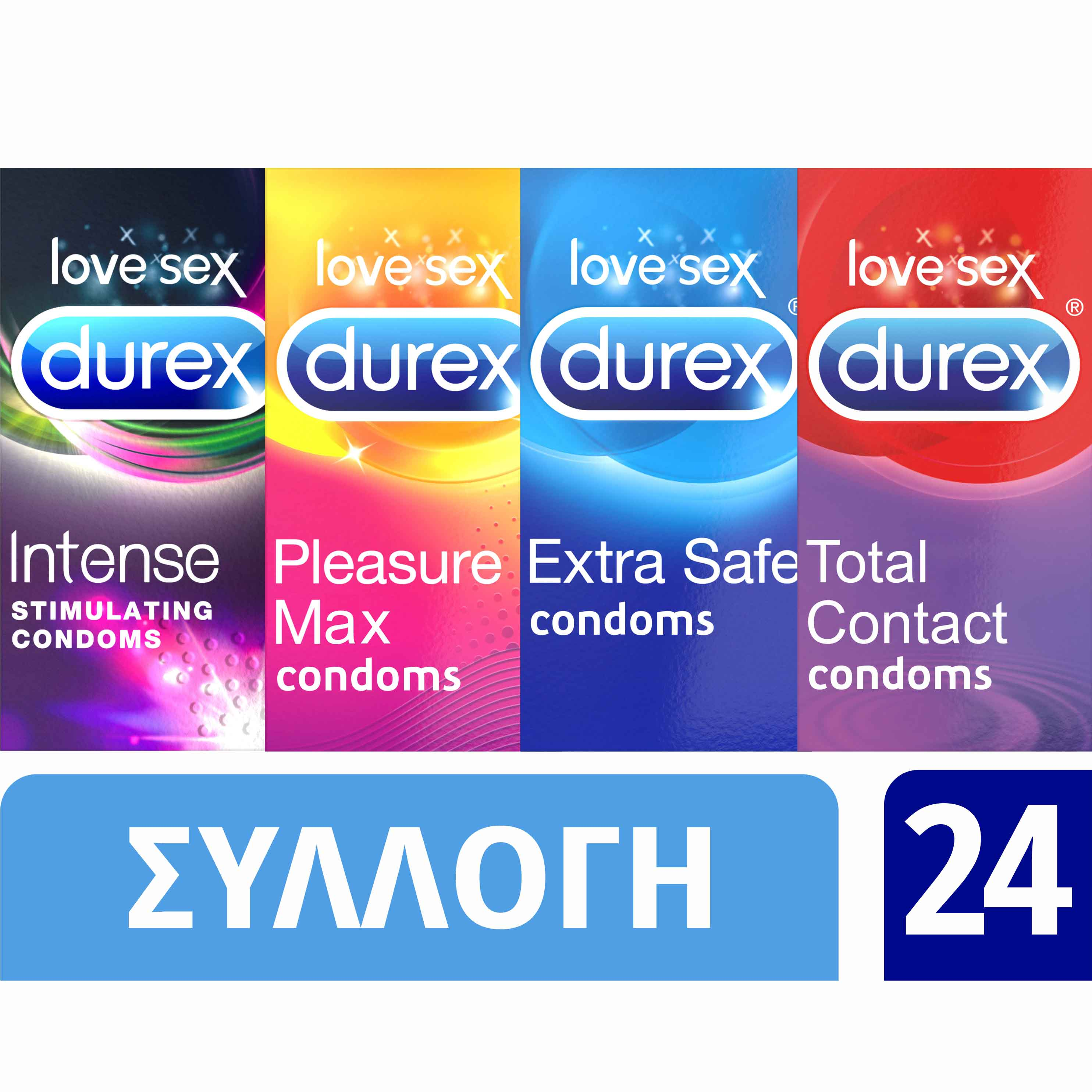 Durex Variety Προφυλακτικά Extra Safe / Pleasure max/ Total Contact / Intense Stimulating, 4 x 6 τεμάχια