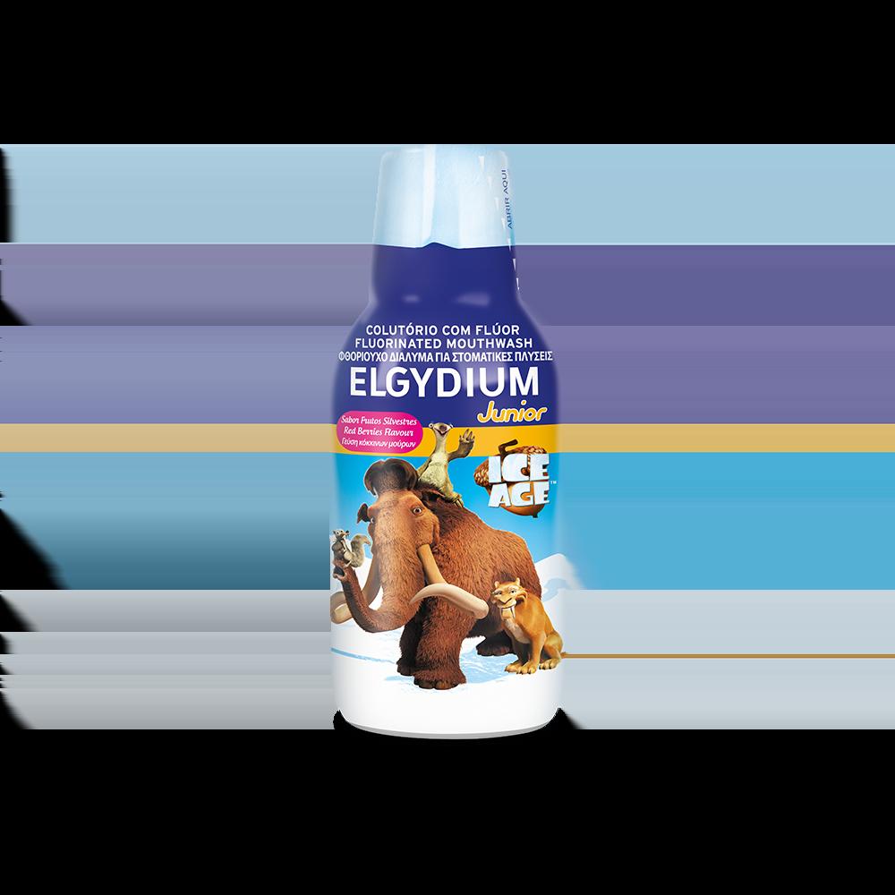 Elgydium Junior Mouthwash Ice Age Καθημερινό φθοριούχο Στοματικό Διάλυμα για παιδιά με γεύση κόκκινων μούρων, 500ml