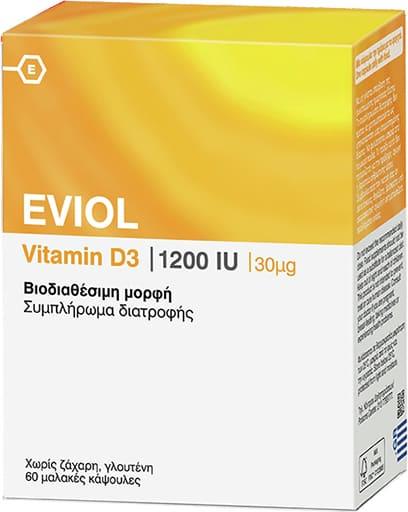Eviol Vitamin D3 1200IU Συμπλήρωμα Διατροφής για τη Φυσιολογική Λειτουργία των Οστών των Δοντιών και των Μυών 30μg, 60 caps