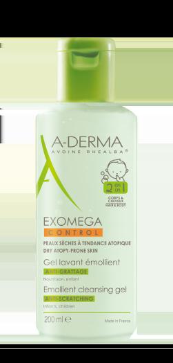 A-Derma Exomega Control Gel Lavant Emollient 2 en 1 Μαλακτικό Τζελ Καθαρισμού 2 σε 1 για το Ατοπικό Δέρμα, για Μαλλιά & Σώμα, 200ml
