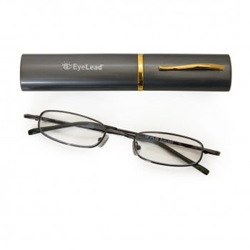 Vitorgan EyeLead Pocket - Reading Glasses pocket, with case . With flexible arm & durable frame. Colour Grey, 1 piece