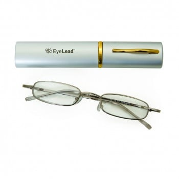 Vitorgan EyeLead Pocket - Reading Glasses pocket, with case . With flexible arm & durable frame. Silver Color , 1 piece