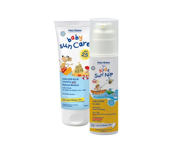 FREZYDERM Πακέτο Αντιηλιακής Προστασίας, FREZYDERM Baby Sun Care SPF25, Αντιηλιακό γαλάκτωμα προσώπου-σώματος με Φυσικά Φίλτρα 100ml & FREZYDERM KIDS Sun Nip SPF50+ Αντιηλιακό γαλάκτωμα προσώπου-σώματος Μαζί με προστασία από τις επιθέσεις εντόμων 150ml