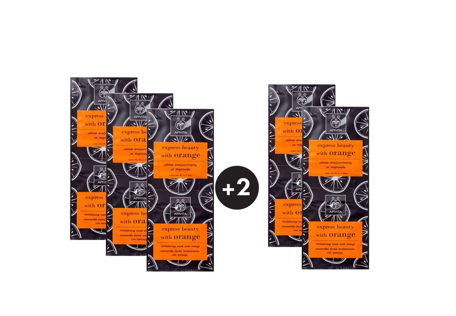 5 x Apivita Express Beauty Μάσκα Περιποίησης & Αναζωογόνησης Προσώπου για Λάμψη με Πορτοκάλι (3+2 ΔΩΡΟ),10 x 8ml