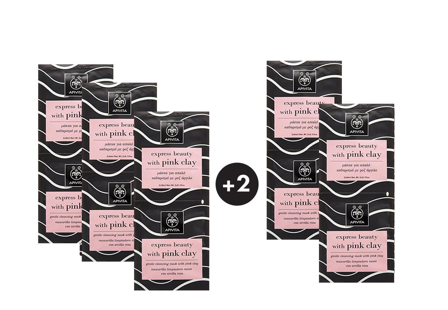 5 x Apivita Pink Clay Face Mask Express Beauty Μάσκα για Απαλό Καθαρισμό του προσώπου με ροζ άργιλο (3+2 ΔΩΡΟ), 10 x 8ml