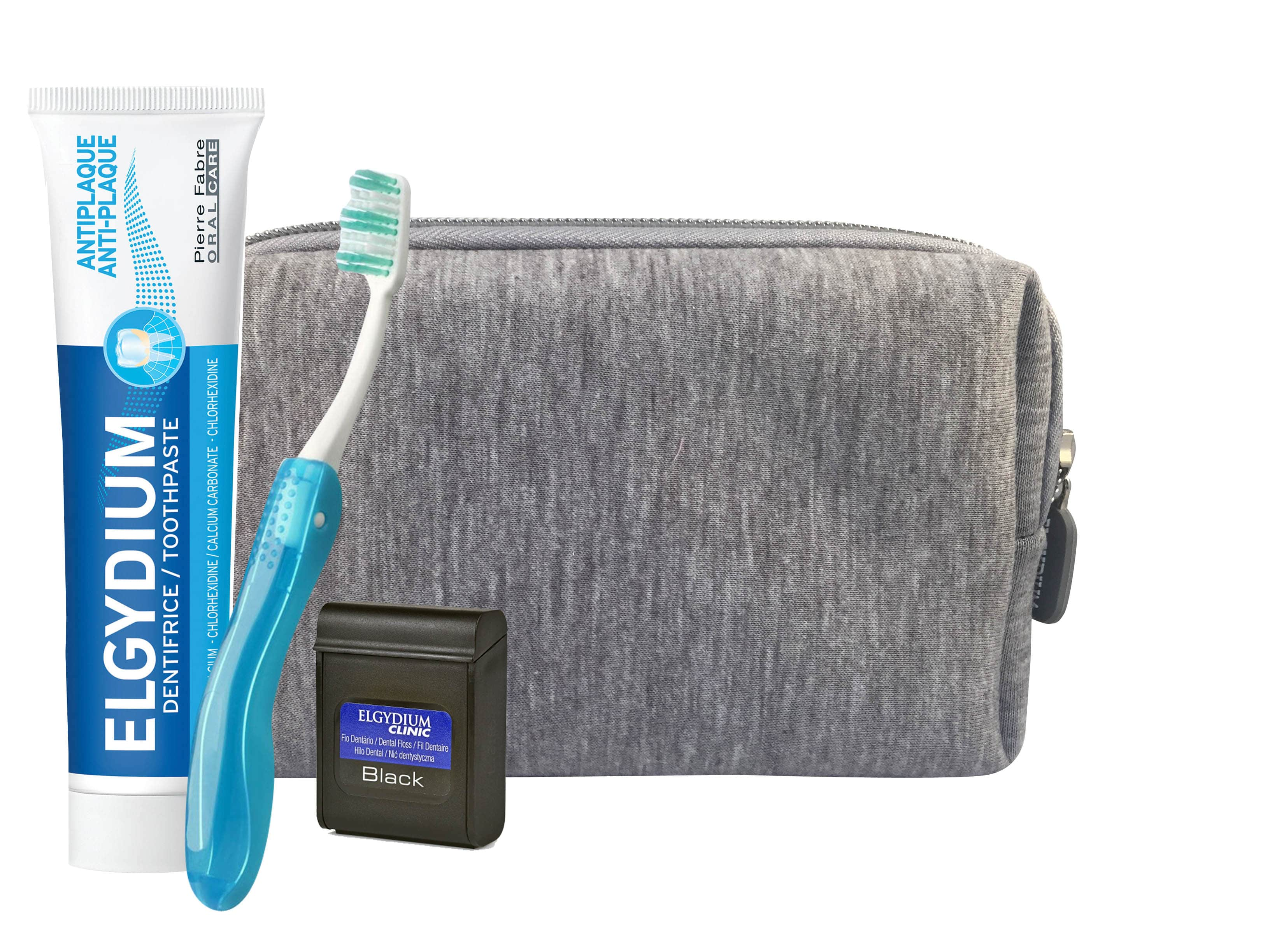 Elgydium Dental Grey Travel Kit with Elgydium Pocket Toothbrush,1 pc, Antiplaque Toothpaste, 50ml & Dental Floss Black, 5m