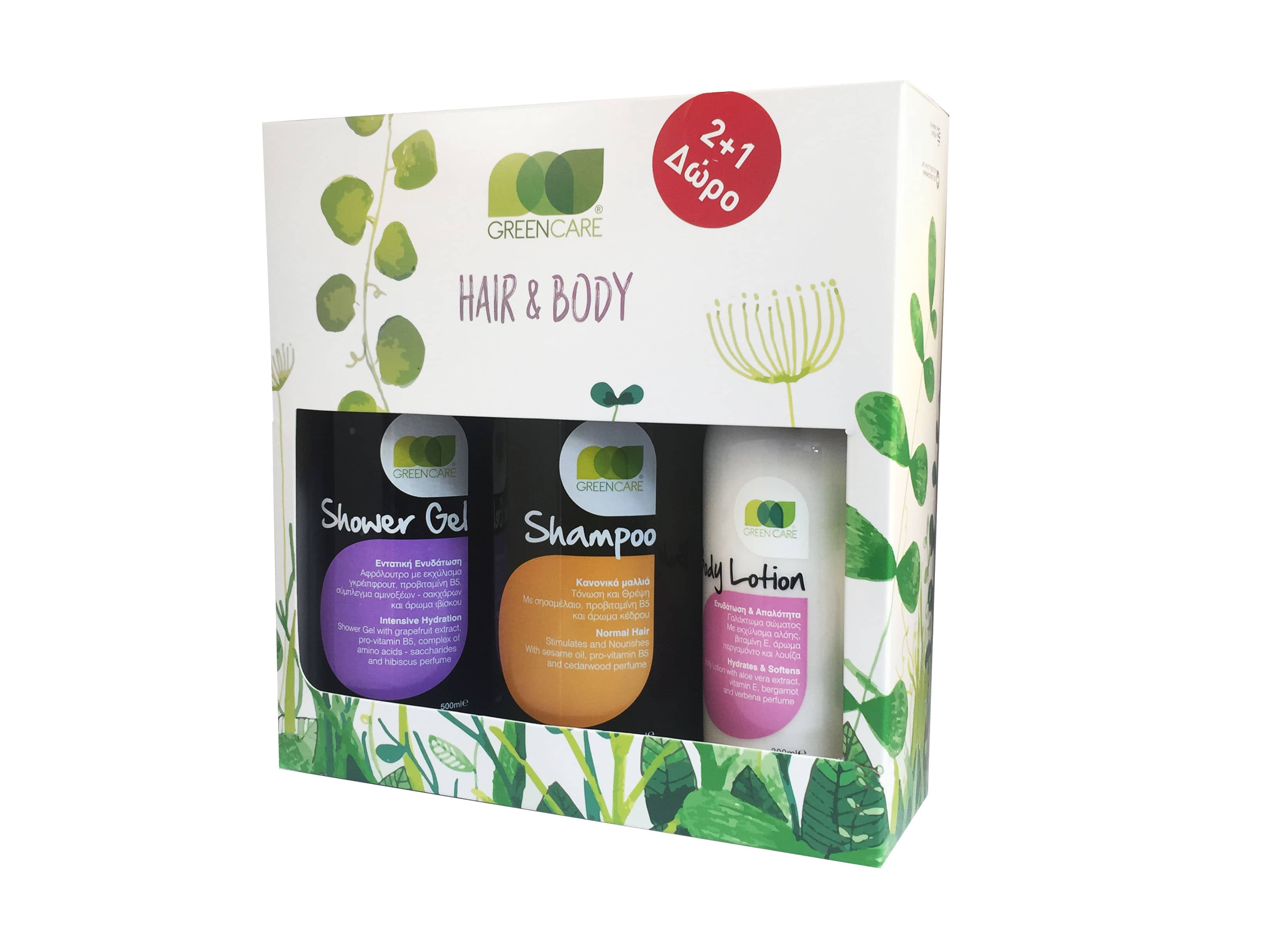 Green Care Σετ για Σώμα & Μαλλιά με Shampoo Normal Σαμπουάν για κανονικά μαλλιά, 500ml, Shower Gel Αφρόλουτρο, 500ml & ΔΩΡΟ Body Lotion Γαλάκτωμα Σώματος, 300ml
