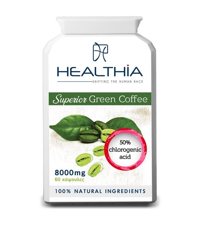 Healthia Superior Green Coffee 800mg Φυτική Φόρμουλα Αδυνατίσματος σε Χάπια, 60caps