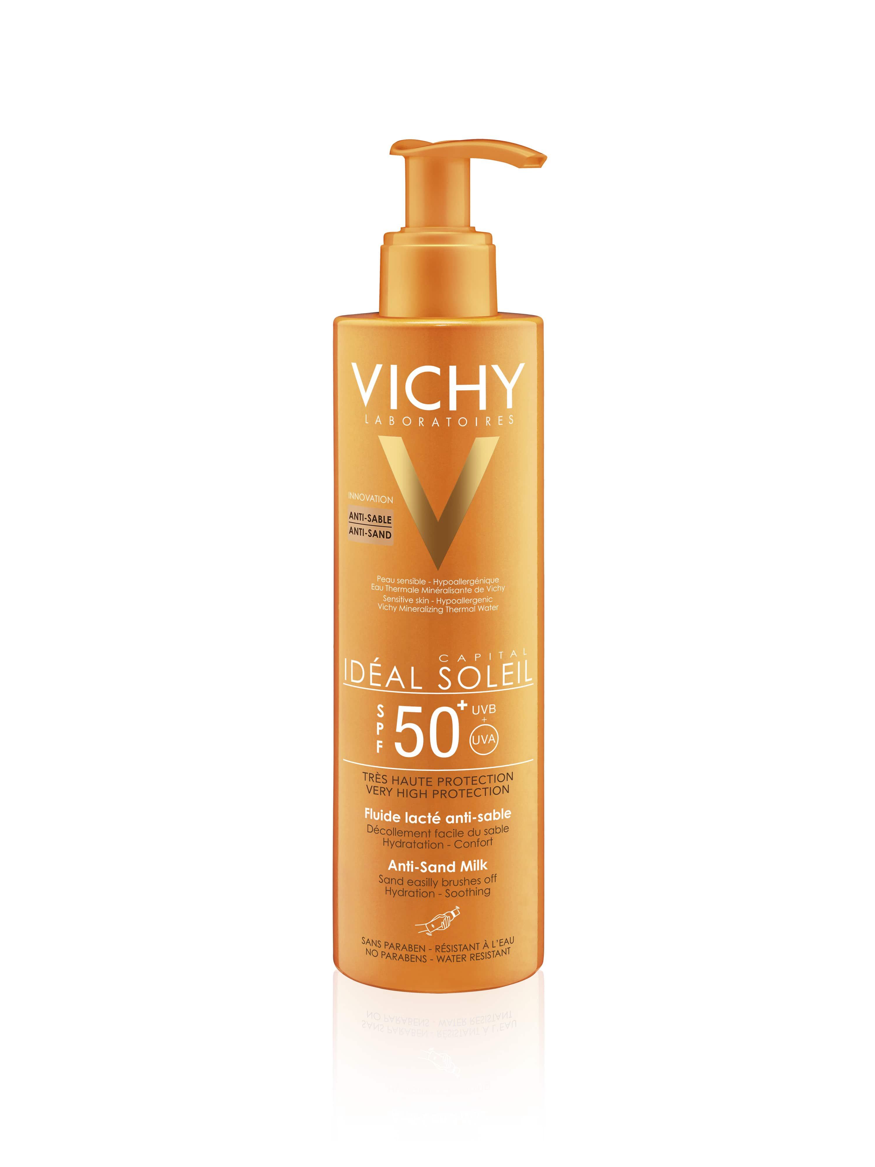Vichy Ideal Soleil SPF50 Αντιηλιακό Γαλάκτωμα που απομακρύνει την Άμμο από την επιδερμίδα, για Σώμα & Πρόσωπο, 200ml