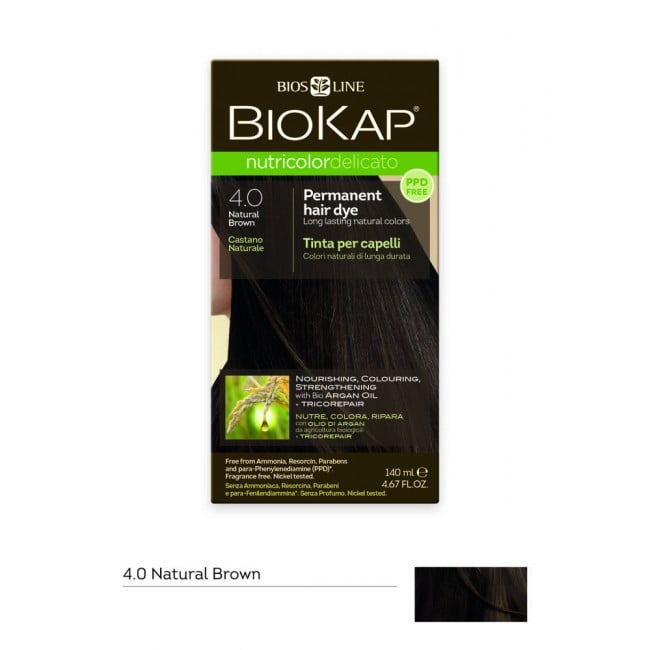 Biokap Nutricolor Delicato No 4.0 Natural Brown Βαφή Μαλλιών, 140ml