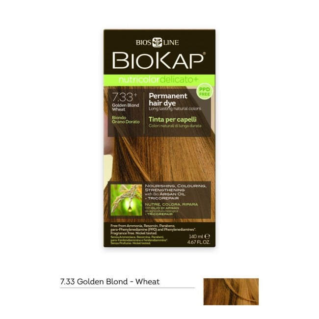 Biokap Nutricolor Delicato No 7.33+ Golden Blond Wheat Βαφή Μαλλιών, 140ml