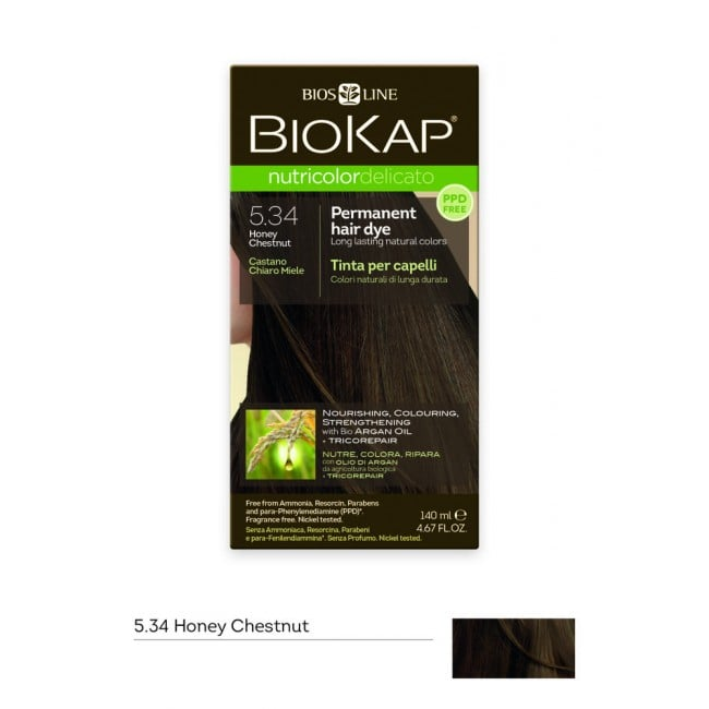 Biokap Nutricolor Delicato No 5.34 Honey Chestnut Βαφή Μαλλιών, 140ml