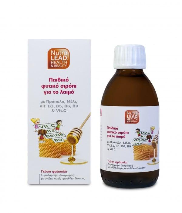 Nutralead Παιδικό Φυτικό Σιρόπι για το λαιμό, με γεύση φράουλα, 200ml