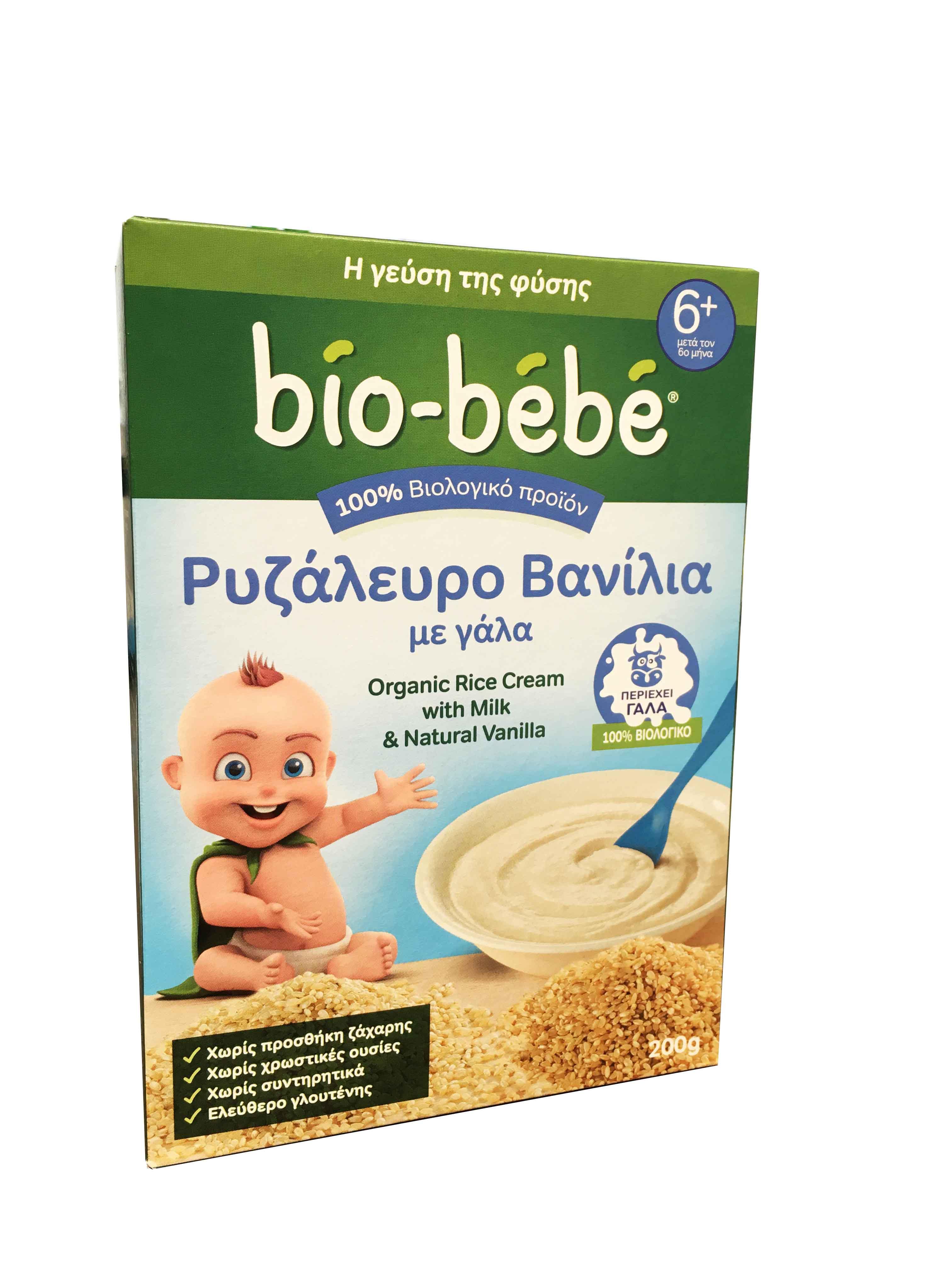 Bio Bebe Ρυζάλευρο Βανίλια με Γάλα 6m+ ΜΕ -0.70€ ΜΕΙΩΜΕΝΗ ΑΡΧΙΚΗ ΤΙΜΗ Βιολογικής Καλλιέργειας, 200gr