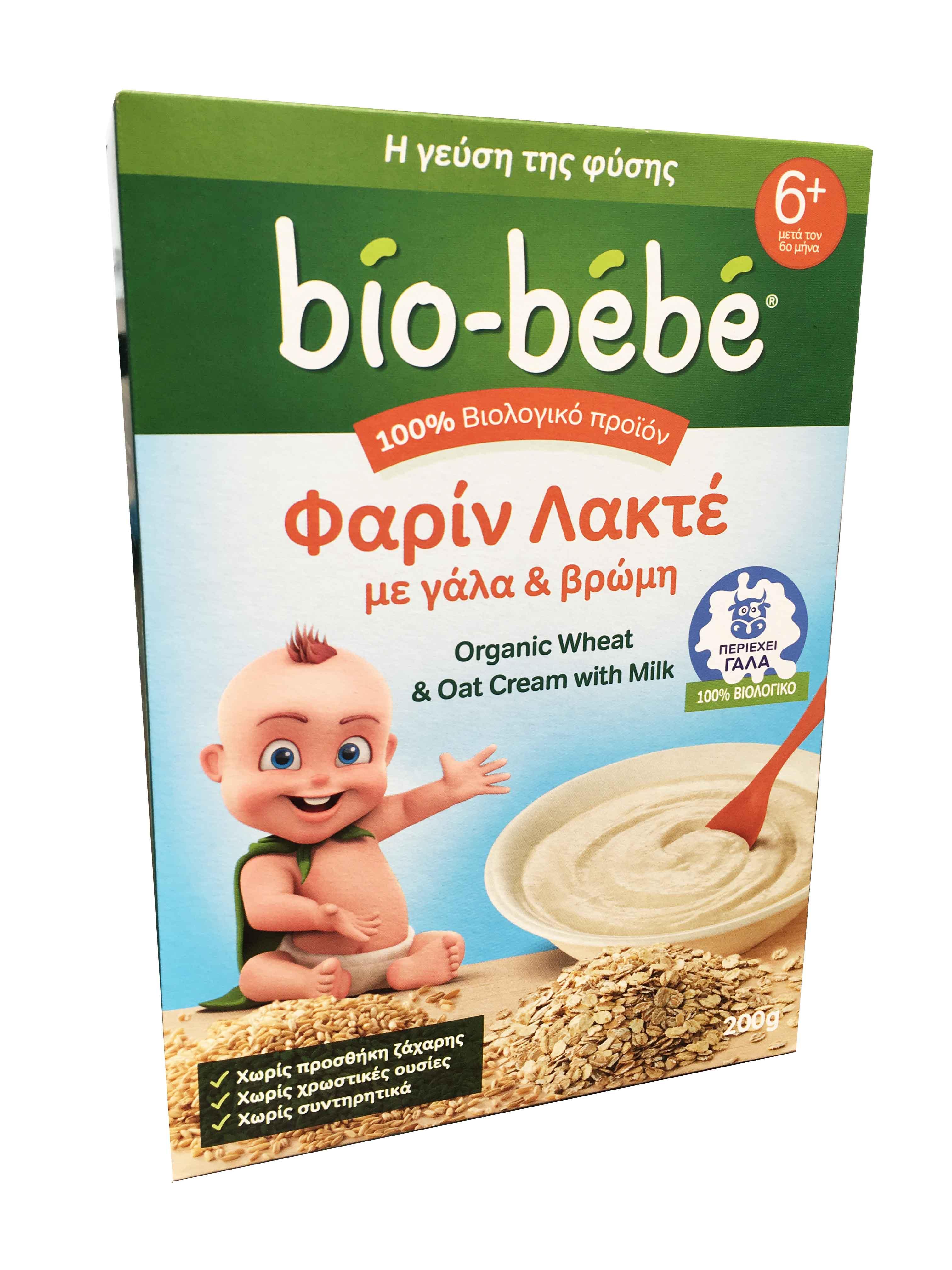 Bio Bebe Φαρίν Λακτέ με Γάλα & Βρώμη 6m+ Βιολογικής Καλλιέργειας, 200gr