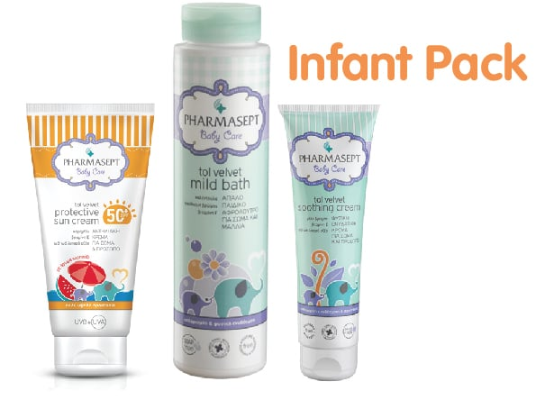 Pharmasept Infant Pack με Natural Sun Cream SPF50+ Βρεφική Αντηλιακή Κρέμα για Πρόσωπο & Σώμα, 100ml, Mild Bath Αφρόλουτρο για σώμα & μαλλιά, 300ml & Soothing Cream Ενυδατική Κρέμα, 150ml