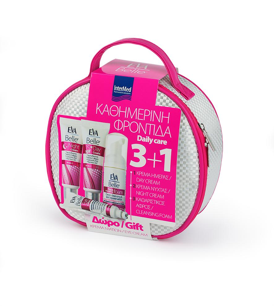 Intermed Eva Belle Value Pack σε Νεσεσέρ με Κρέμα Ημέρας SPF15, 50ml & Κρέμα Νύχτας, 50ml & Καθαριστικό Αφρό, 50ml & ΔΩΡΟ Κρέμα Ματιών, 15ml