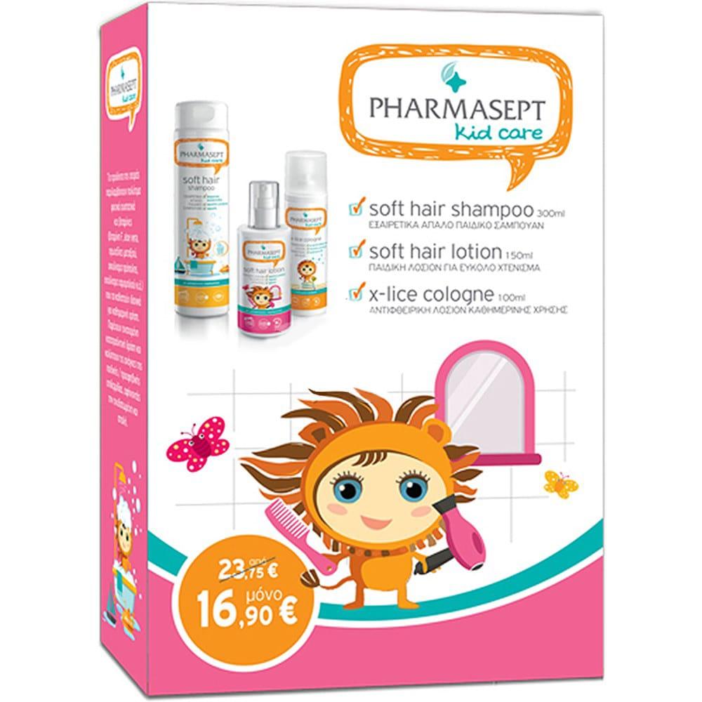 Pharmasept Kid PROMO για Κορίτσιαμε Soft Hair Shampoo Παιδικό Σαμπουάν, 300ml, Soft Hair Lotion Παιδική Λοσιόν για Εύκολο Χτένισμα, 150ml & X-Lice Cologne Αρωματική Λοσιόν που απομακρύνουν τις ψείρες, 100ml