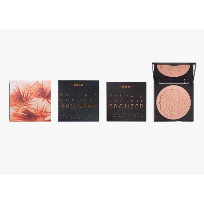 Korres Cocoa & Coconut Bronzer Sun Kissed Looks Luminous Finish 01 Light Shade Μεταξένια Πούδρα Μαυρίσματος με κακάο & καρύδα, 10gr