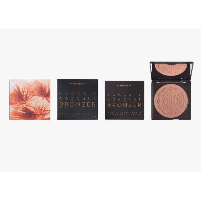 Korres Cocoa & Coconut Bronzer Sun Kissed Looks Luminous Finish 02 Warm Shade Μεταξένια Πούδρα Μαυρίσματος με κακάο & καρύδα, 10gr