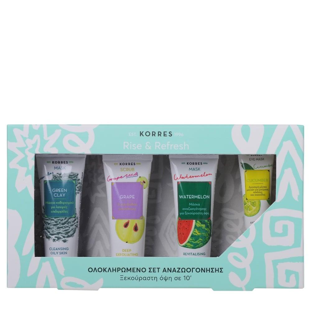 Korres Rinse & Refresh Set with Green Clay Cleansing Mask, 18ml & Grape Scrub Deep exfoliating scrub, 18ml & Watermelon Cool Refreshing Mask, 18ml & Cucumber Anti-fatigue Eye Mask, 8ml