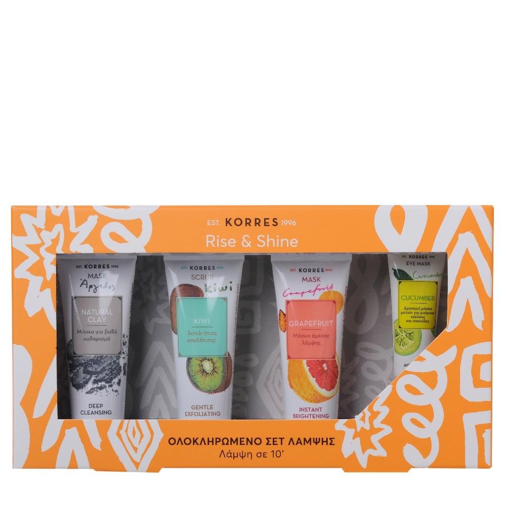 Korres Rise & Shine Set με Natural Clay Μάσκα για Βαθύ Καθαρισμό, 18ml & Kiwi Gentle Exfoliating Scrub Gel Ήπιας Απολέπισης, 18ml & Grapefruit Instant Brightening Mask Μάσκα Άμεσης Λάμψης, 18ml & Cucumber Μάσκα Ματιών, 8ml