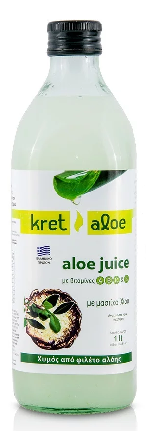 Kretaloe Aloe Juice Χυμός Αλόης με βιταμίνες A, B, C & E & μαστίχα Χίου, 1L