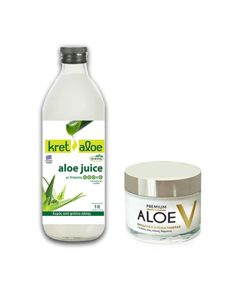 Kretaloe Aloe Juice Χυμός Αλόης με βιταμίνες A, B, C & E & μαστίχα Χίου, 1L & Premium Aloe Vera V Κρέμα Ημέρας, 50ml