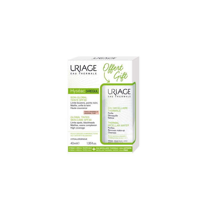 Uriage Hyseac 3 Regul Global Tinted Skin Care SPF30 Ενυδατική Κρέμα προσώπου με χρώμα, 40ml & ΔΩΡΟ Eau Micellaire Thermale Νερό Καθαρισμού προσώπου, 100ml