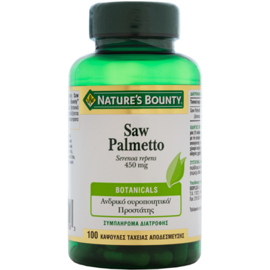 Nature's Bounty Saw Palmetto 450mg Συμπλήρωμα Διατροφής με Saw Palmetto, 100caps