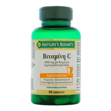 Nature's Bounty Vitamin C 1000 mg Συμπλήρωμα Διατροφής με Βιταμίνη C & Καρπούς Αγριοτριανταφυλλιάς, 60 tabs