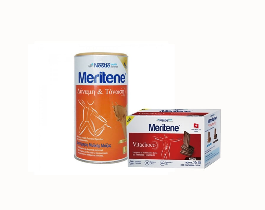 Nestle Meritene PROMO PACK  Strenght & Vitality Protein Nutritional Supplement Coffee, 270gr & FREE Vitachoco Negro, 150gr