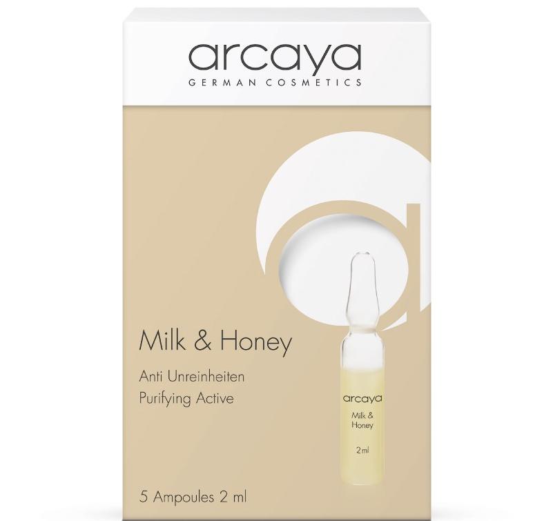 Arcaya Milk & Honey Ampoules Αμπούλες Ομορφιάς με Γάλα & Μέλι, αντιμικροβιακή δράση για λιπαρά δέρματα με τάση ακμής, 5 x 2ml