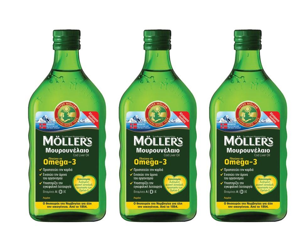 3 x Moller's Μουρουνέλαιο Lemon Παραδοσιακό Μουρουνέλαιο σε Υγρή Μορφή με Γεύση Λεμόνι, 3 x 250ml