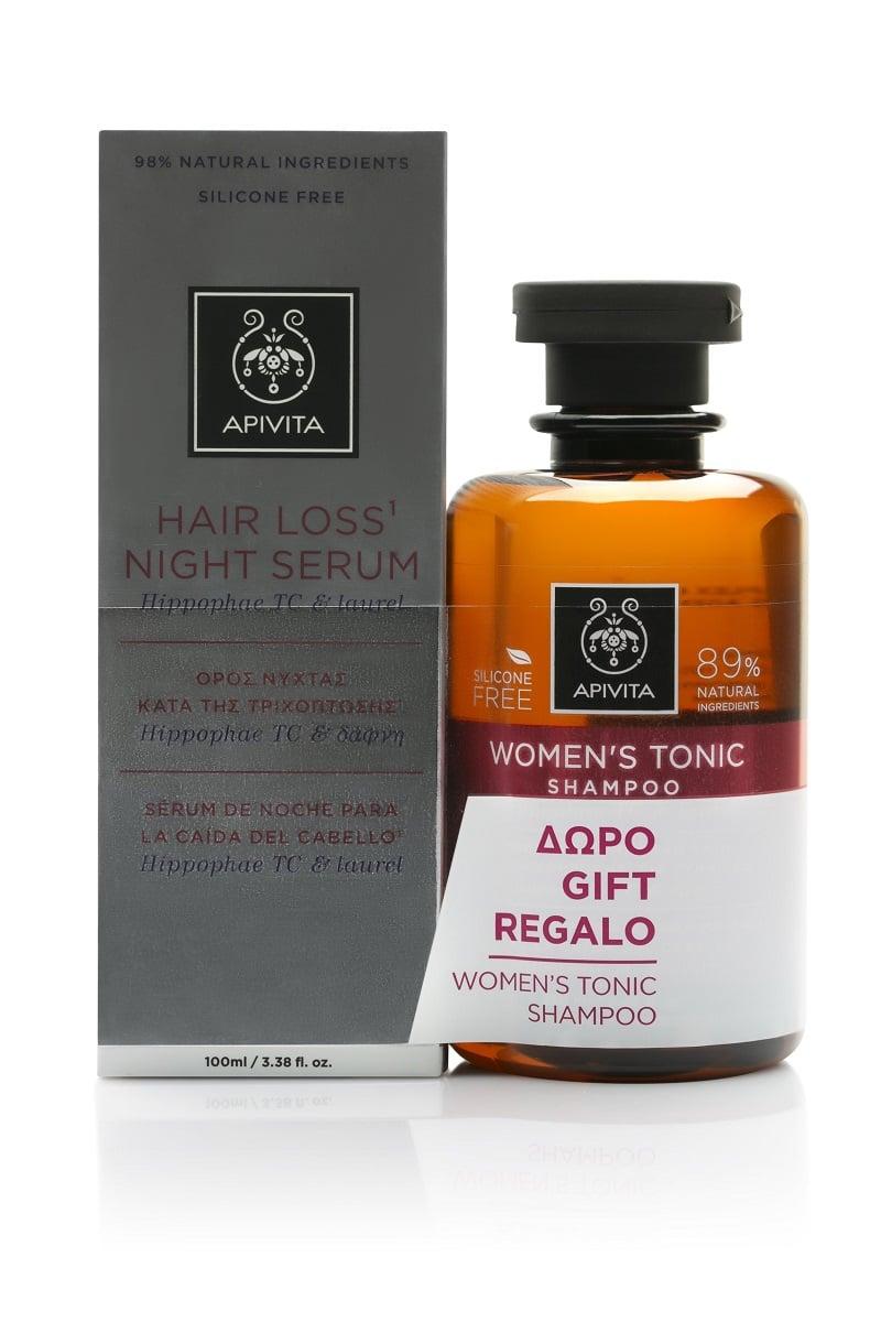 Apivita PROMO Hair Loss Night Serum Ορός Νύχτας κατά της Τριχόπτωσης, 100ml & ΔΩΡΟ Women's Tonic Shampoo Τονωτικό Σαμπουάν για την Γυναικεία Τριχόπτωση, 250ml
