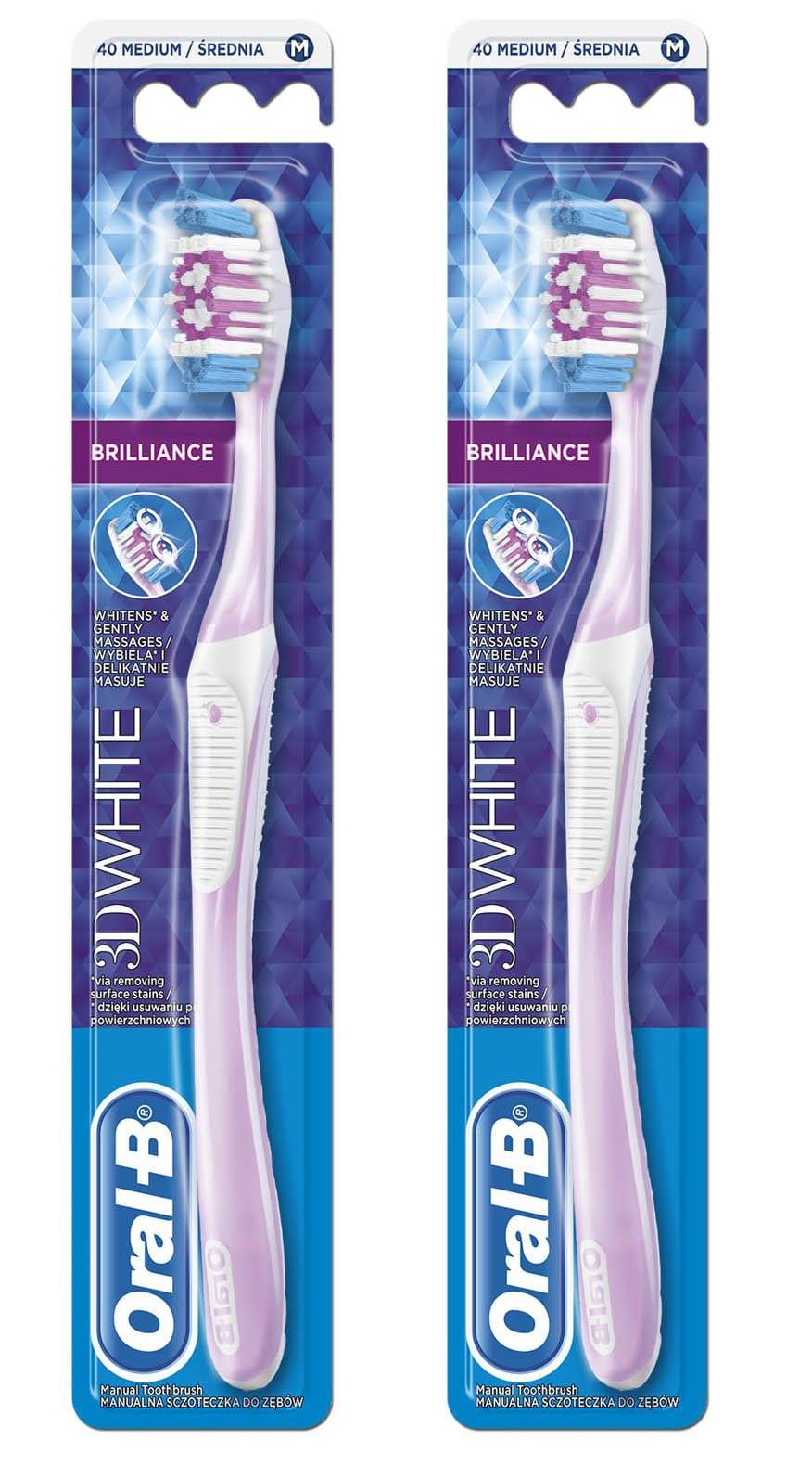 2 x OralB 3D White Brilliance 40Med (1+1) Οδοντόβουρτσα Medium, 2 τεμάχια