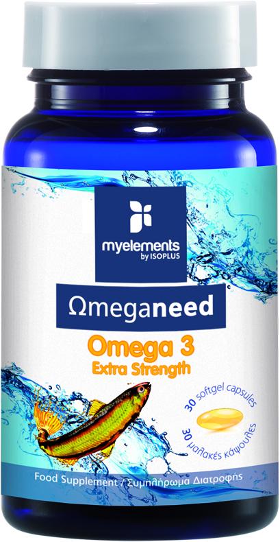 MyElements Ωmeganeed Omega 3 Extra Strength Συμπλήρωμα Ωμέγα Λιπαρών Οξέων, 30 softgels