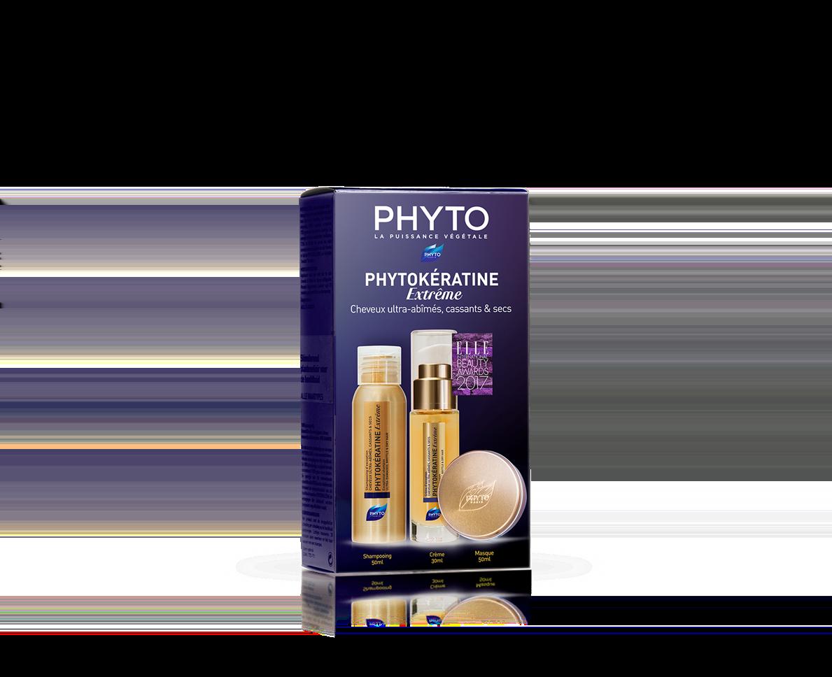 Phyto Phytokeratine Extreme Travel Kit με Θρεπτική Κρέμα Θερμοπροστασίας, 30ml, Μάσκα Μαλλιών Εντατικής Θρέψης, 50ml & Θρεπτικό Σαμπουάν, 50ml