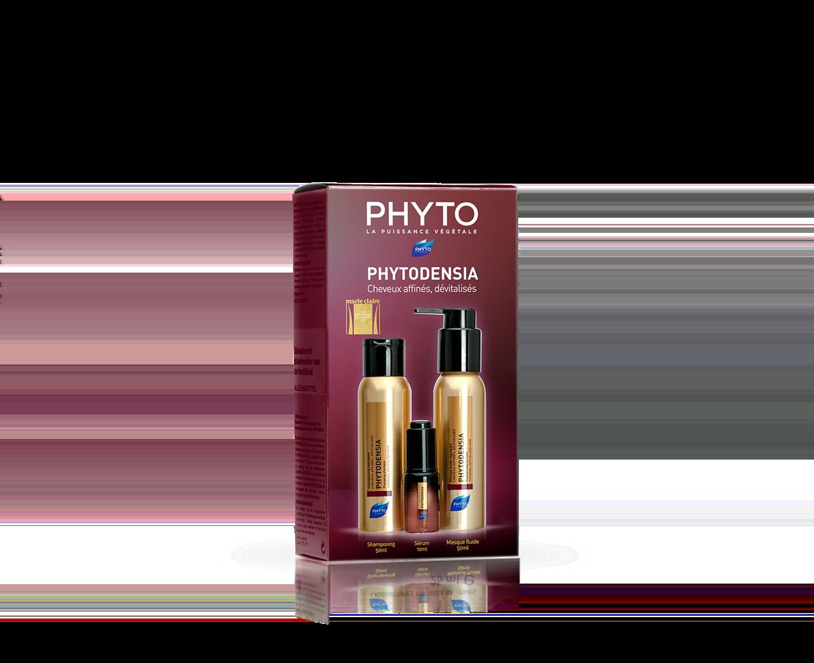 Phyto Phytodensia Travel Kit με Σαμπουάν Αναδόμησης, 50ml, Λεπτόρρευστη Μάσκα Αναδόμησης, 50ml & Λεπτόρρευστη Μάσκα Αναδόμησης για Ατίθασα Μαλλιά, 10ml