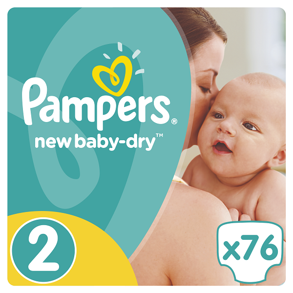 Pampers New Baby Dry Jumbo Pack No.2 (Mini) 3-6 kg Βρεφικές Πάνες, 76 τεμάχια