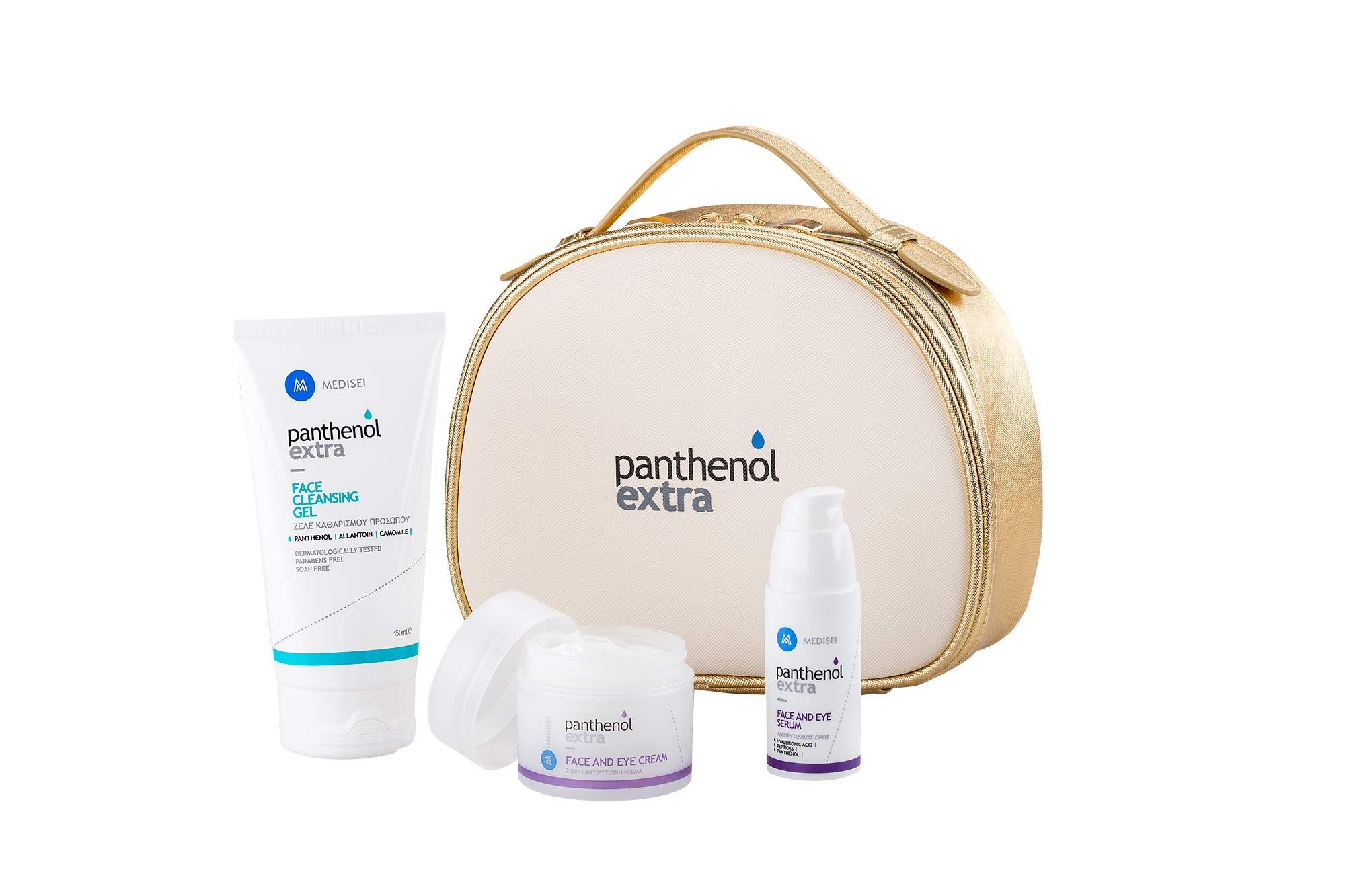 Panthenol Extra PROMO with Face & Eye Cream 24h, 50ml, Face & Eye Serum, 30ml & GIFT Face Cleansing Gel, 150ml in a Travel Case