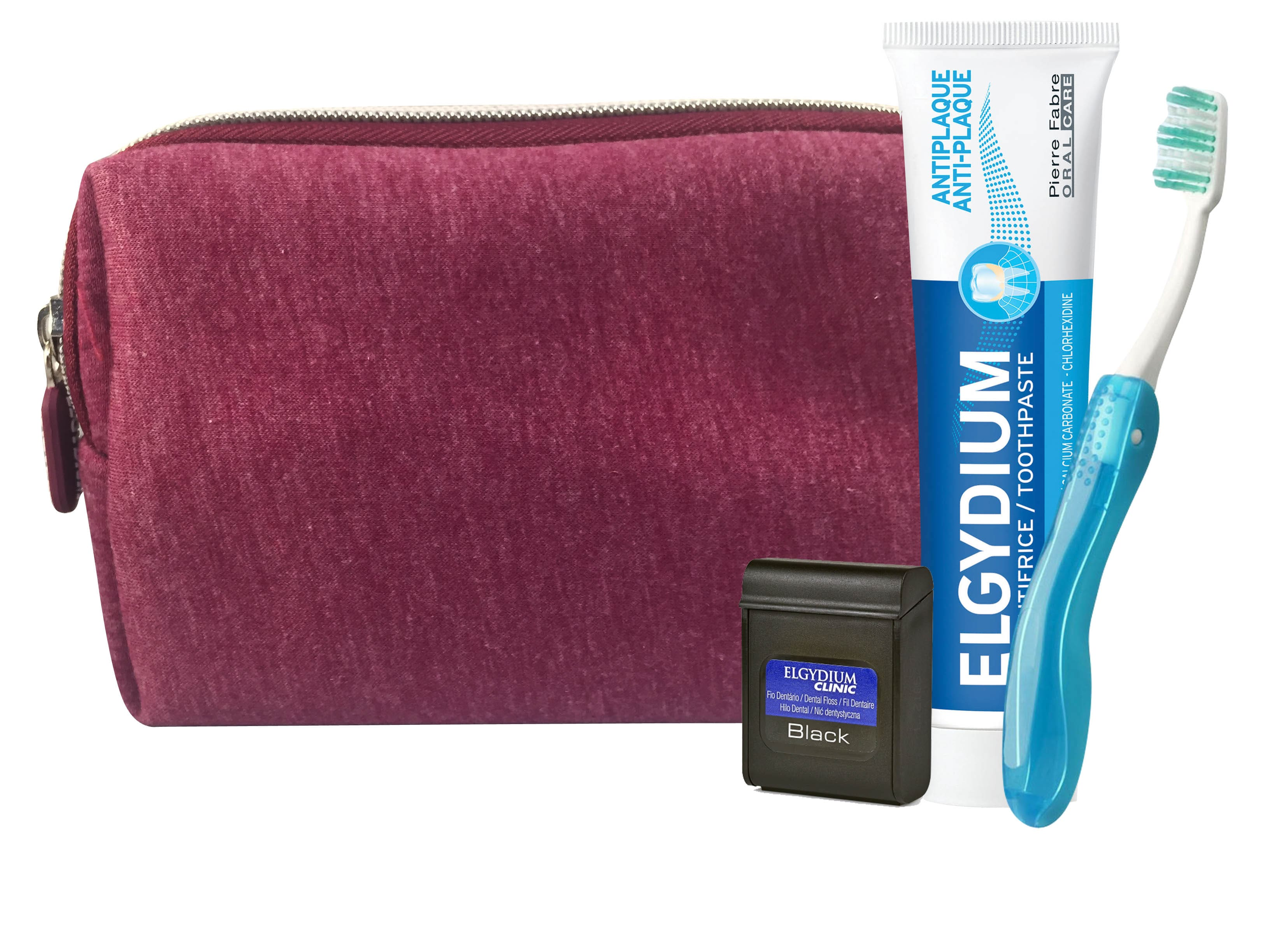 Elgydium Dental Travel Kit με Elgydium Pocket Οδοντόβουρτσα Ταξιδίου, 1 τεμάχιο, Antiplaque Οδοντόκρεμα κατά της πλάκας, 50ml & Dental Floss Black Οδοντικό Νήμα με Μαύρο Χρώμα, 5m σε μπορντό τσαντάκι μεταφοράς