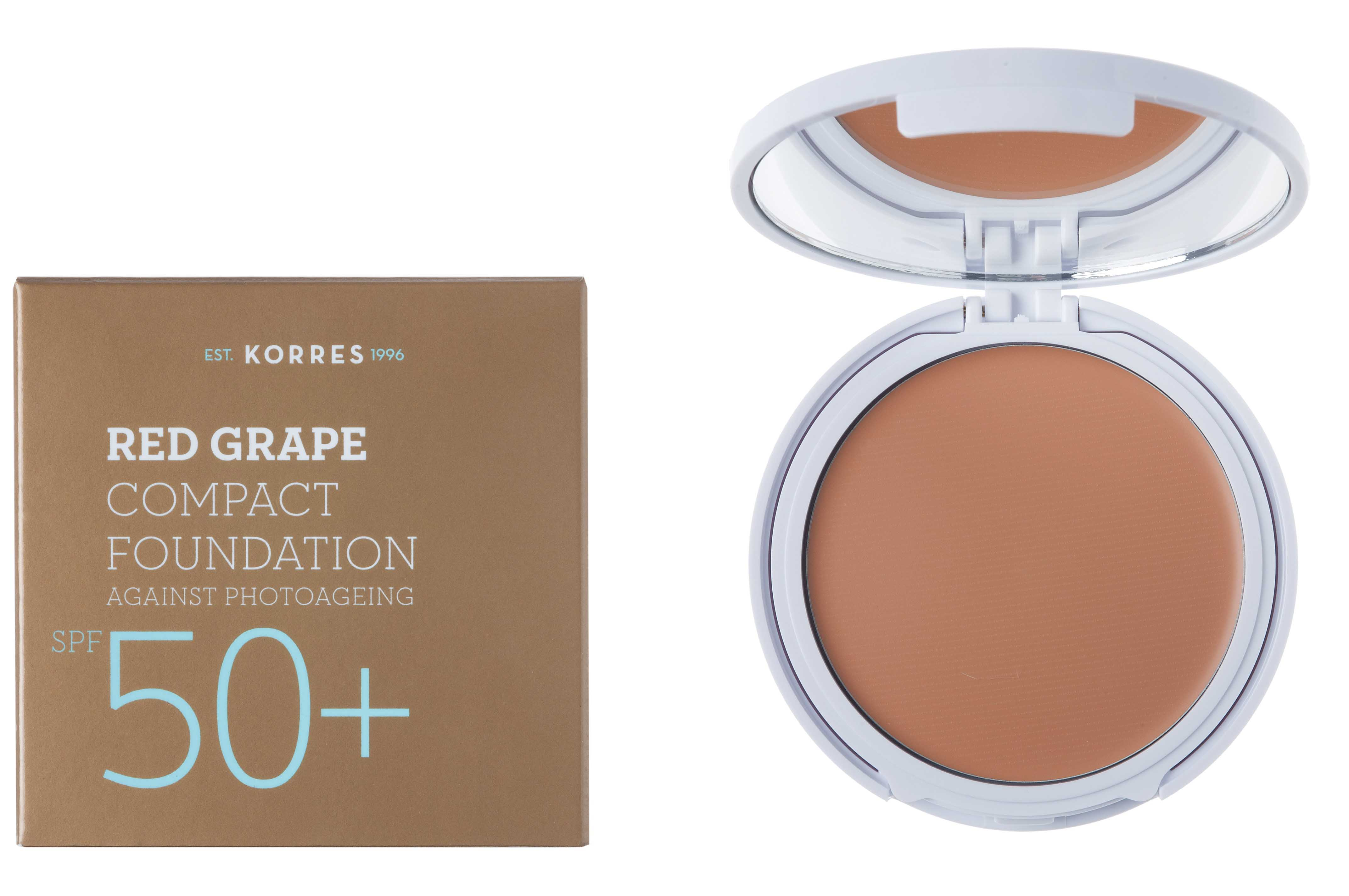 Korres Red Grape Compact Foundation SPF50 + Medium Red Grape Sunscreen Make Up in compact format, 01 Light, 8gr