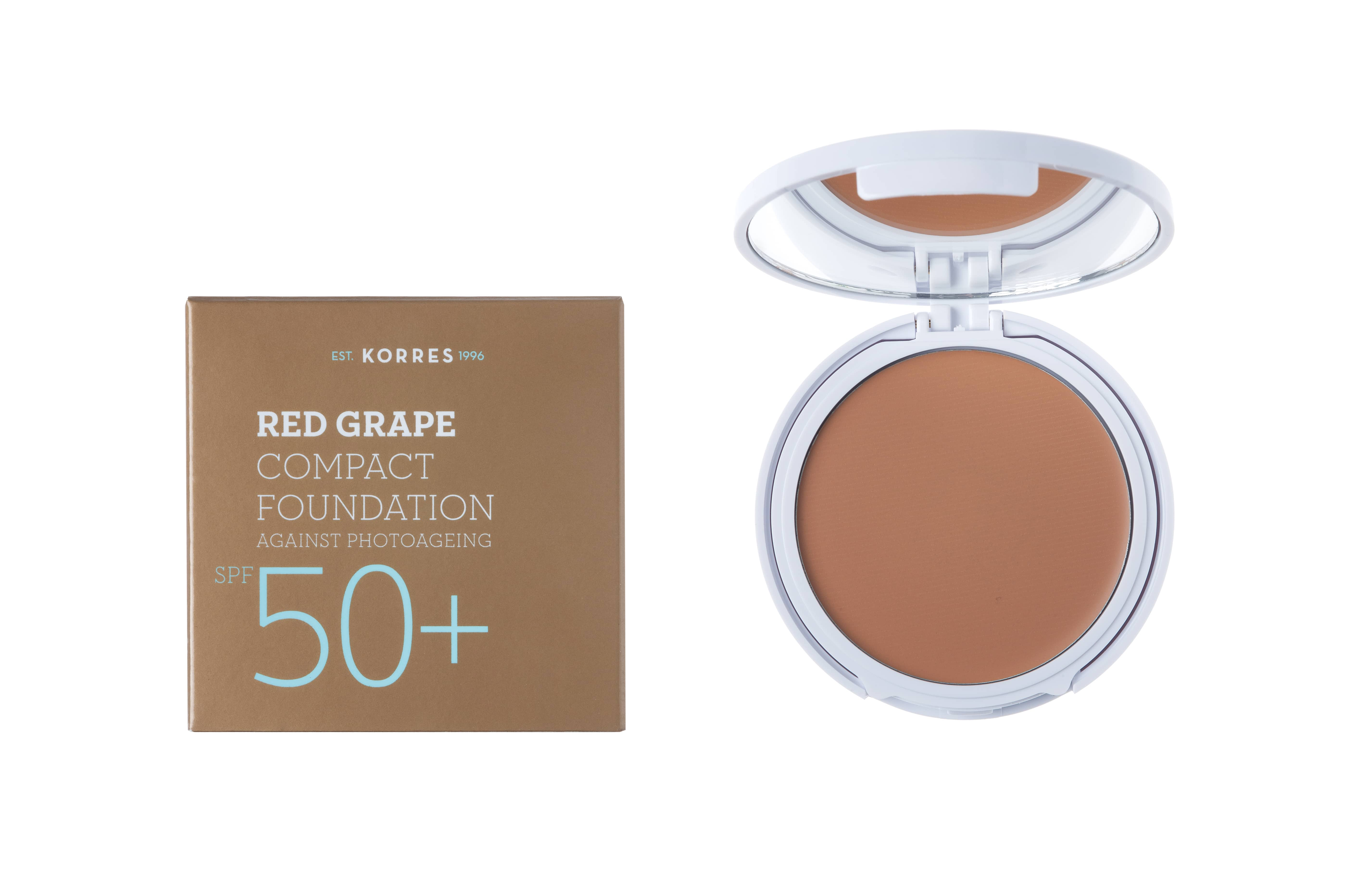 Korres Red Grape Compact Foundation SPF50+ Medium Αντηλιακό Make Up σε μορφή compact με κόκκινο σταφύλι κατά της πρόωρης γήρανσης, Απόχρωση 2 Μεσαία, 8gr