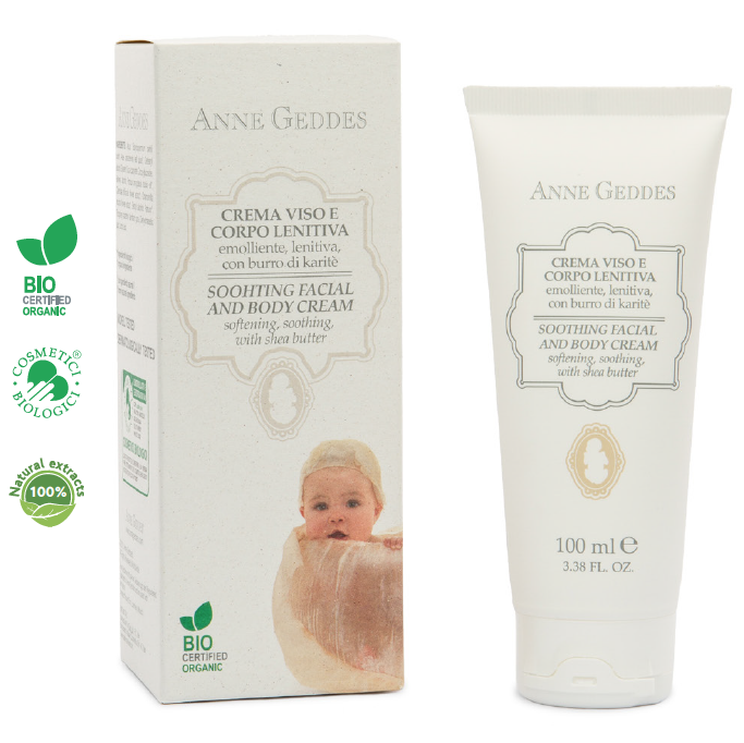 Anne Geddes Soothing Facial & Body Cream ΒιολογικήΕνυδατική Κρέμα για το πρόσωπο & το σώμα του μωρού, 100ml