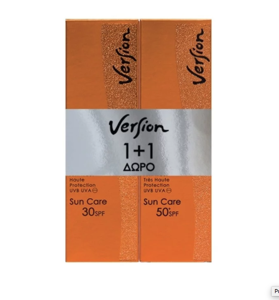 Version Derma PROMO PACK με Sun Care SPF50+ Αντηλιακή Κρέμα Πολύ Υψηλής Προστασιάς, για Πρόσωπο & Σώμα, 50ml & ΔΩΡΟ Sun Care SPF30 Αντιηλιακή Κρέμα Υψηλής Προστασιάς, για Πρόσωπο & Σώμα, 50ml
