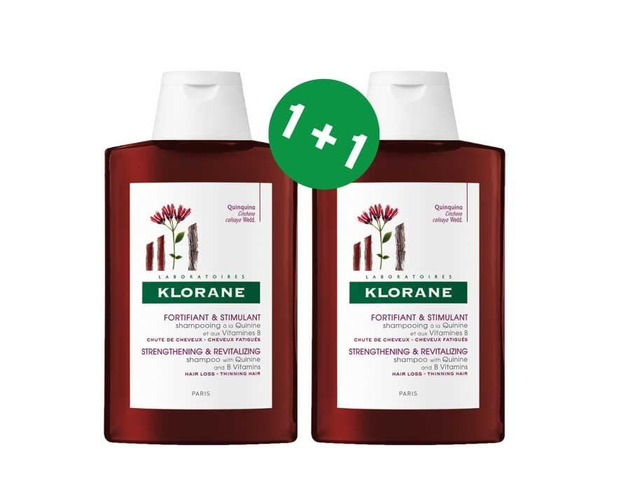 2 x Klorane Fortifying Treatment Shampoo with Quinine, 2 x 400ml