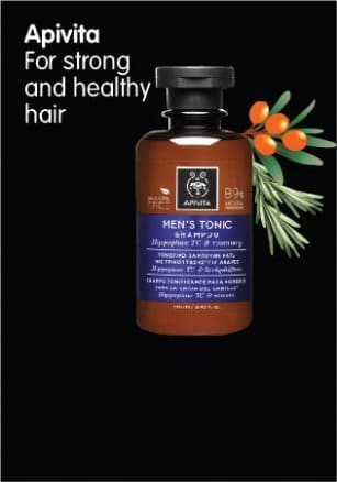 If you have hair loss, try the Apivita Men's Shampoo for hair loss with hippophae TC and rosemary!